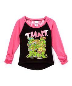 Another great find on #zulily! Black & Hot Pink 'TMNT' Raglan Tee - Girls by Teenage Mutant Ninja Turtles #zulilyfinds