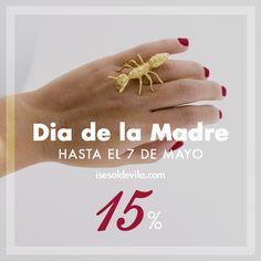 Aprovéchate del 15% Dto. en todos tus pedidos a contacto@isesoldevila.com hasta el 7 de mayo por el #diadelamadre ¡corre! #promodiadelamadre #joyas #anillos #bichitos #hormiga #diseño #diseñosunicos #jewellry #design