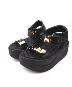 Black PU Platform Sandals with Metal Decor