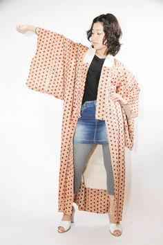 Boho Floral Nagajuban Kimono Shiny Light Brown with Red Flower Motif, Costume by CJSTonbo on Etsy
