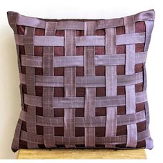 Decorative Throw Pillow Covers Couch Pillow Sofa 16 Inch Silk Pillow Cover Purple N Plum Basket Weave Home Living Decor Housewares
