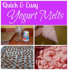 Homemade yogurt melts. Healthier, cheaper, and just as easy as getting the Gerber kind! DIY Yogurt Melts.