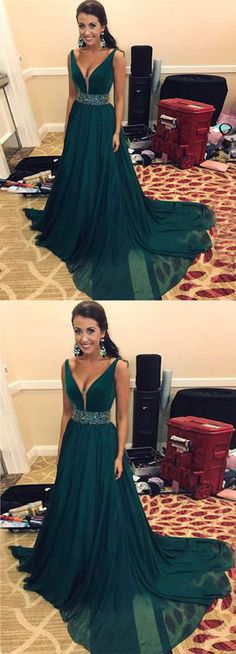 Cute dark green tulle long evening gown with beading belt