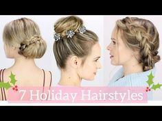 7 Easy Holiday Hairstyles Tutorial - YouTube The Christmas Lights Dutch braid updo = my fav