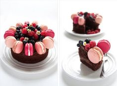 divine chocolate sponge cake recipe decorated with blackberry & raspberry french macarons