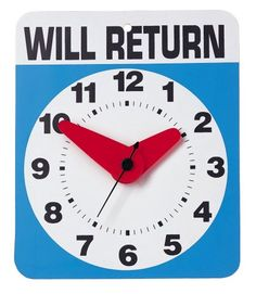 Kikkerland Will Return Wall Clock Aa Battery Operated Fun