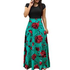 Floral Print Maxi Dress Maxi Shirt Dress, Maxi Dress With Sleeves, Short Sleeve Dresses, Long Sleeve, Short Sleeves, Vestido Maxi Floral, Floral Print Maxi Dress, Boho Summer Dresses, Boho Dress