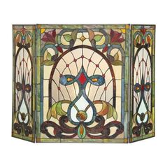 Tiffany-Style-Stained-Glass-3-Piece-Mission-Victorian-Design-Fireplace-Screen
