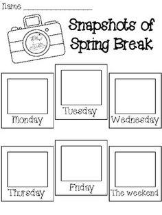 Snapshots of Spring Break Writing Activity - Aimee VanMiddlesworth - TeachersPayTeachers.com
