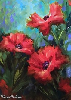 Artists Of Texas Contemporary Paintings and Art - Tips on Painting Red Poppies by Dallas Arboretum Flower Instructor Nancy Medina