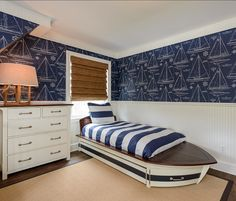 Ralph Lauren Nautical Bedding | bed. Bed is from Pottery Barn Kids. Wallpaper is by Ralph Lauren ...