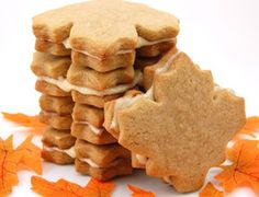 These maple cream cookies are flavorful, gorgeous, and easy to make. This maple cookie recipe is a hit at parties too. Maple leaf cookies are heavenly! Maple Cream Cookies Recipe, Maple Leaf Cookies, Cookies And Cream, Filled Cookies, Tea Cakes, Biscotti, Cookie Recipes, Dessert Recipes, Dishes Recipes