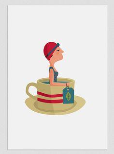 Ilustración. Nadadora en té. Póster. Lámina. Cartel. Decoración. Regalo. Habitación. Pared. Casa. Hogar. Tutticonfetti.
