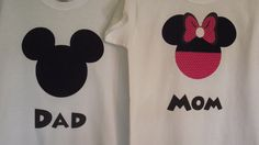 Mickey Minnie Mouse - Disney Birthday Party Custom Pink & Black T-Shirt Personalized Applique Tee Shirt Top. $16.00, via Etsy.