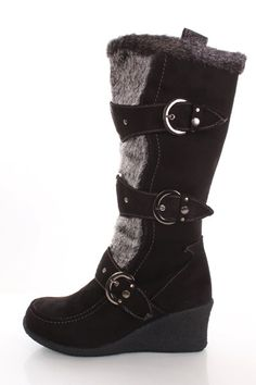 Black Faux Suede Fur Buckle Accent Closed Toe Wdge Boot $23.