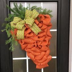Easter Wreath: Carrot Wreath Burlap Easter Carrot by SnappyPea
