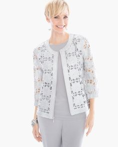 "Come lace or shine, this foiled jacket elevates a bomber styling with gorgeous lace detailing.    Custom-colored to match our wrinkle-free Travelers™ Classics.  Zipper closure.  Long sleeves.  Regular length: 24"".  Petite length: 22.75"".  Cotton.  Machine wash. Imported."