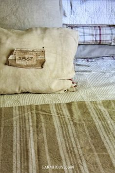Renovating, decorating and creating in an 1867 Pennsylvania farmhouse. Primitive Bedding, Linens And More, Farmhouse Interior, Guest Bedrooms, Reusable Tote Bags, October 2013, Pillows, Quilt, Fabrics
