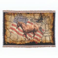"""""""Heading West"""" - A gorgeous work of art featuring a handsome cantering Western-style chestnut Horse who cantering across a map of the United States with patriotic Bald Eagle and US flag also in the background. A great design celebrating the noble Horse through American history! This beautiful artwork will appeal to animal-lovers and especially to those with a particular fondness for history and the magnificent Horse and Bald Eagle! Designed by Val Brackenridge ©."""