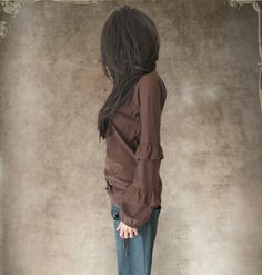 Brown cotton top/Ruffle long sleeve/women v by tratgirl55 on Etsy