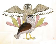 Owls in Evening Fight  by Kenojuak Ashevak 1986  stonecut & stencil