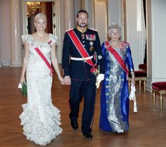 Crown princess Mette Marit crown prince Haakon and princess Astrid Ms Ferner process to the gala dinner at the Royal Castle in Oslo on August 31 2011...