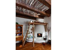 This 1900's adobe hacienda comes complete with fireplace loft and nook! #fireplaces #loft