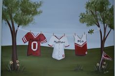 Personalized Clothesline Painting 8 x 10 Sports Fan on Etsy, $38.00