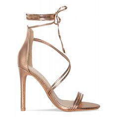 98a9a5bf86ae Nada Rose Gold Snake Lace Up Heels   Simmi Shoes (155 SAR) ❤ liked