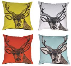 Feather filled stag head cushion, available in four colours at Browsers Furniture Co. Limerick, Ireland, www.browsers.ie