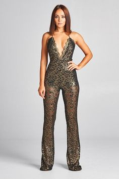 Women's Clothing Deep V Sexy Jumpsuit Women Golden Reflective Jumpsuits Spring 2019 Lace Up Slim High Waist Ladies Club Wear Long Sleeve Overalls