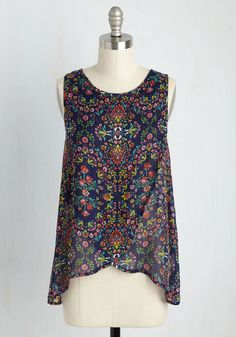 Weekday-Willed Sleeveless Top by ModCloth - Blue, Multi, Floral, Work, Sleeveless, Fall, Better, Exclusives, Private Label, Scoop, Summer, Woven, Mid-length, Casual, Boho, Best Seller, Best Seller, ModCloth Label