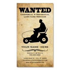 wanted : lawn care services business card