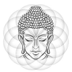 Illustration of Buddha head - elegant vector illustration. The symbol of Buddhism, spirituality and enlightenment. Tattoo, illustration, printing on fabric vector art, clipart and stock vectors. Buddha Tattoos, Buddhist Symbol Tattoos, Buddha Tattoo Design, Shiva Tattoo Design, Buddhist Symbols, Hindu Tattoos, Buddha Drawing, Buddha Painting, Buddha Art
