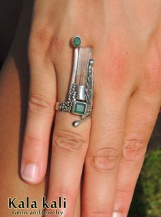 Emerald and a Aquamarine Crystal on a long Sterling by KalaKali, €210.00