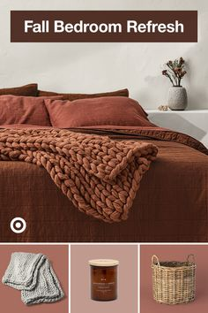 Cozy up your bed with fall decor ideas for your master bedroom, from layered textures to autumn color schemes. Fall Bedroom, Cozy Bedroom, Home Decor Bedroom, Diy Home Decor, Master Bedroom, Modern Vintage Bathroom, Aesthetic Room Decor, Up House, Bedroom Colors