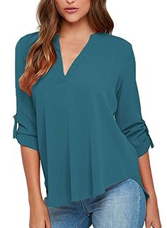a6255b1934e Face N Face Womens Summer V Neck Solid Loose Casual Cuffed Long Sleeve  Blouses Lake Green