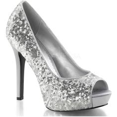 Silver Sequin Peep Toe Pump (280 ILS) ❤ liked on Polyvore featuring shoes, pumps, heels, sapatos, silver, peep toe platform pumps, silver sequin shoes, heels & pumps, silver heel pumps and peep-toe pumps