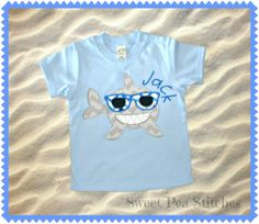 Personalized+Happy+Shark+Design+Shirt+Bib+by+SweetPeaStitches84,+$12.00