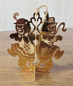 Danbury Mint Gold Christmas Ornament - DANCING BEARS - 1988 Very Nice