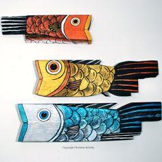 Fish Art Painted Wood Gold Folk Art by TaylorArts on Etsy,
