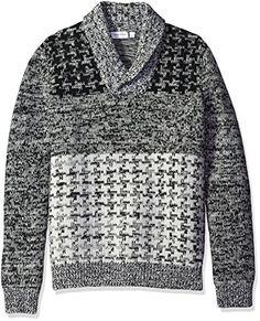 0e0cc1770191 Calvin Klein Black Mens Size Large L V-Neck Wool Printed Sweater