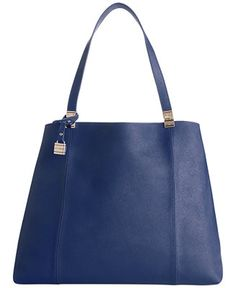 """Tommy Hilfiger TH Hinge Saffiano Leather Tote - Tote Bags - Handbags & Accessories - Macy's  --15-1/2"""" W x 12-3/4"""" H x 9"""" D. comes in black too. Not sure this would stand up on it's own.  $158"""