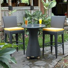 Patio Area Bar Chairs for Comfortable Outdoor and Poolside Seating – Outdoor Patio Decor Outdoor Patio Bar, Outdoor Seating, Outdoor Tables, Outdoor Living, Outdoor Decor, Round Bar Table, Bar Table Sets, Bar Tables, Traditional Dining Chairs