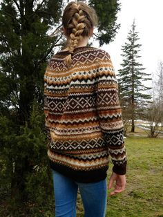 Fair Isle Natural wool sweater Made to order Thank You for visiting my shop! Multicolor Fair Isle sweater Design rights belong to adaLV - December 2012 Natural . Fair Isle Knitting Patterns, Fair Isle Pattern, Sweater Knitting Patterns, Knit Patterns, Sock Knitting, Free Knitting, Vintage Knitting, Stitch Patterns, Knitting Machine