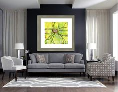 Soft gray interiors and chartreuse floral framed art.