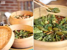 How to cook in bamboo steamer + steamed shrimp and vegetables - Cozinha da Matilde Bamboo Steamer Recipes, Steamed Shrimp, Shrimp And Vegetables, Vegetable Seasoning, Breakfast Lunch Dinner, Diners, Easy Dinners, Freezer Meals, Chinese Food
