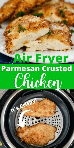 Air Fryer Recipes Discover Air Fryer Parmesan Crusted Chicken - Adventures of a Nurse Air Fryer Parmesan Crusted Chicken is a satisfying and easy air fryer chicken recipe! Juicy air fryer chicken that is coated in Parmesan mix and then air fried! Air Frier Recipes, Air Fryer Oven Recipes, Air Fryer Dinner Recipes, Air Fryer Chicken Recipes, Air Fryer Fried Chicken, Air Fryer Chicken Tenders, Recipes For Airfryer, Air Fry Chicken, Chicken Tenderloin Recipes Healthy