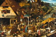 This painting by Flemish artist Pieter Bruegel the Elder was painted in 1559, and depicts a scene with townspeople performing literal illustrations of Dutch language proverbs and idioms. The enchanting painting created with oil on oak panel is an incredibly detailed and wonderfully captured artwork that will add a real folk charm to your interior.