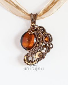 OOAK Brown steampunk wire wrapped pendant